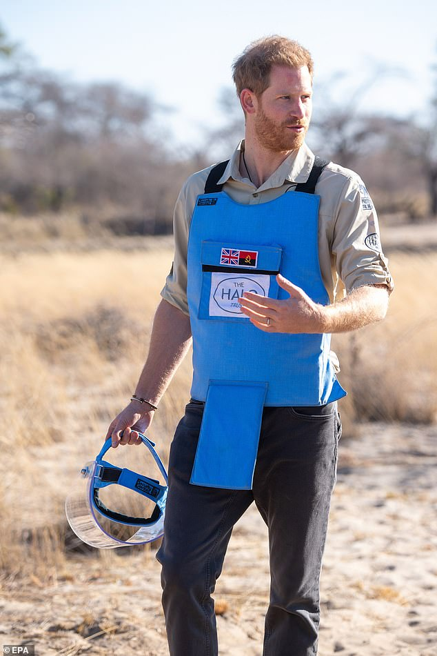 The Duke of Sussex walks through a minefield in Dirico, Angola 27 September 2019. His Royal Highness visited to see the work of landmine clearance charity the Halo Trust
