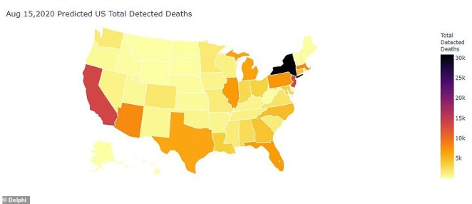 A model from the Carnegie Mellon University Delphi Research Center is predicting 149,900 deaths by August 1