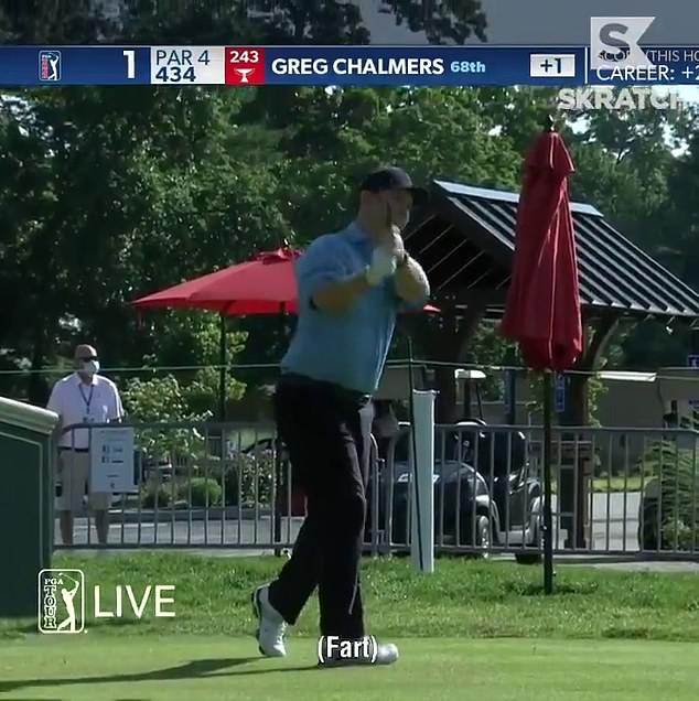 Poulter let rip on the opening tee just after his playing partner Greg Chalmers had teed off