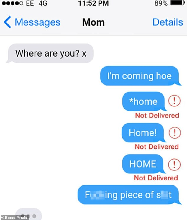A person, believed to be from Birmingham in the UK, accidentally sends their mother the message 'I'm coming h**' rather than 'I'm coming home'