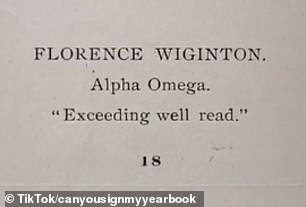 Details:Florence was described as 'exceeding[ly] well read' and was a member of the Alpha Omega sorority.