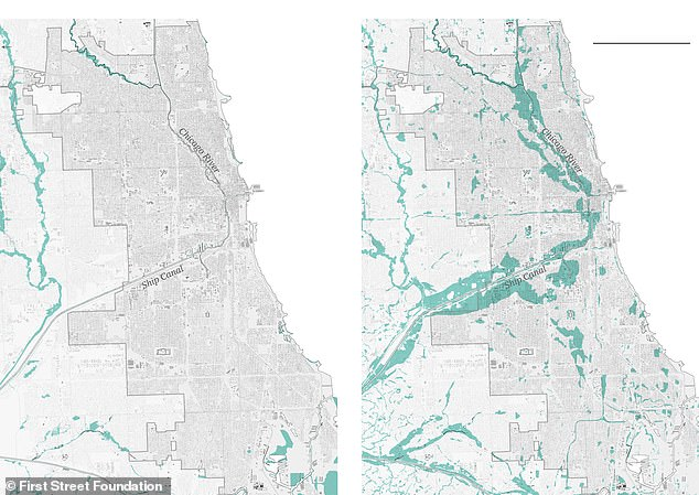 FEMA (left) map shows just 0.3 percent of Chicago's more than 600,000 properties inside the 100-year flood zone. First Street (right) highlights nearly 13 percent of the Illinois city's properties are in danger, which equals to some 75,000 more homes than what FEMA illustrates