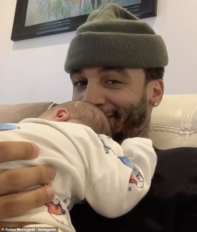 Family man: In a new interview, Aston Merrygold, 32, discussed the 'euphoric' birth of son Macaulay Shay and insisted he wants to marry fiancée Sarah Lou 'sooner rather than later'