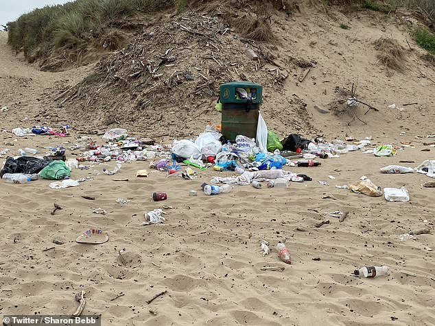 On Brean Beach in Burnham-on-Sea, Somerset (pictured), bins were overflowing with dozens of discarded bottles and plastic bags