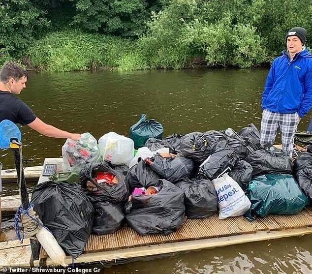 In Shrewsbury, two students from Shrewsbury College collected 20 bags of rubbish left by the river after seeing images of the weekend's aftermath online