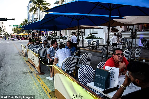 De Blasio noted that clusters of cases in Texas and Florida (patrons pictured June 24 in Miami Beach), which are both seeing a record number of COVID-19 cases, have also been traced back to people dining inside restaurants and bars
