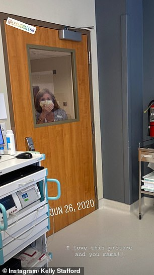 Proud grandma: Kelly posted images of her mother, Leslie Wright Hall, in the hospital with her