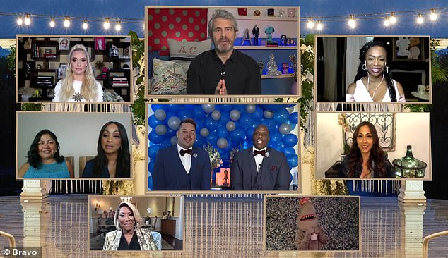 """The 52-year-old Emmy-winning producer began:'We are gathered here tonight in front of Patti LaBelle, a gay shark, the woman who wrote Bug a Boo and another who """"pats the p***"""" to join this man Justin and this man Robert in virtual Internet matrimony'"""