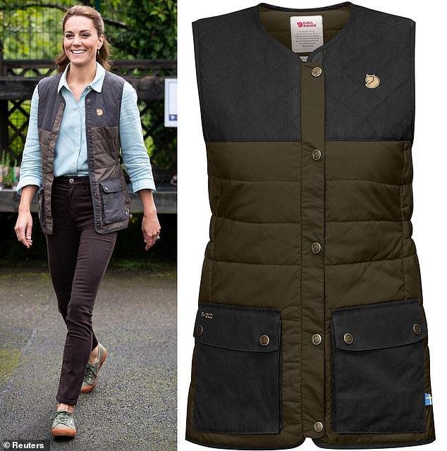 Sold: Kate wore the £175 vest Fjallraven on its first public release in solitary confinement for a Norfolk garden center