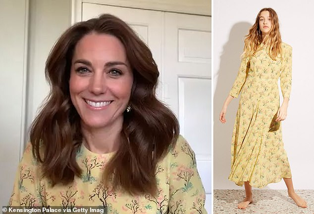 Smiles all round: the Demand for this type of £495 Raey silk dress up 193% – before selling out completely – after the duchess wore in a virtual, This Morning, interview