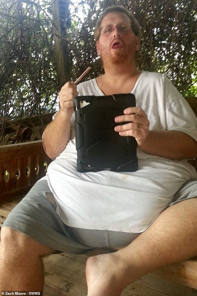 Unhealthy: Father-of-one Zach Moore, 39, was morbidly obese for years - with his weight reaching 500lbs in 2013 when he was at his unhealthiest