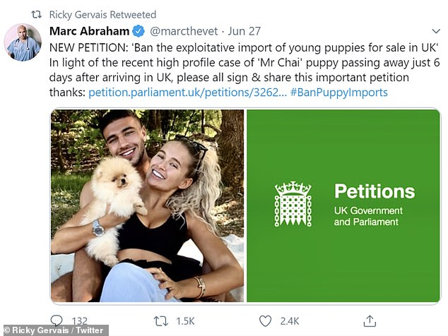'Exploitative': A Government e-petition, referencing Mr Chai's death, was created by Lucy Parkinson, shared on Twitter by vet Marc Abraham and then retweeted by Ricky on Monday