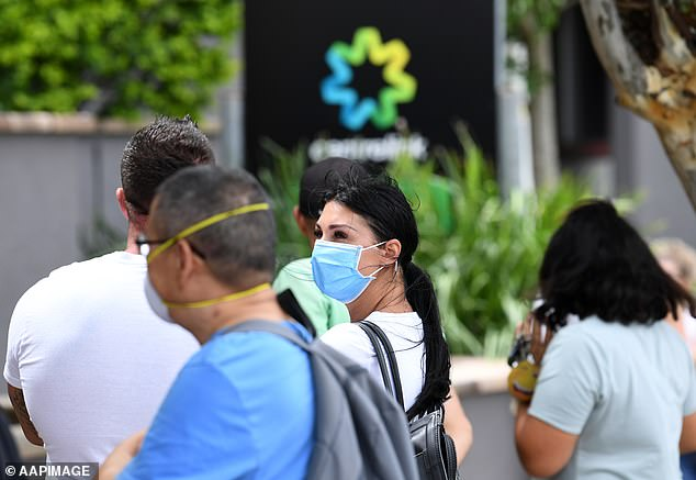People are seen wearing face masks in a long queue outside the Centrelink office in Southport on the Gold Coast on March 23