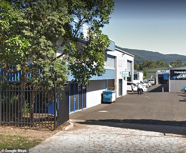 CCTV caught audio of the alleged incident in which a male voice could allegedly be heard making death threats, which was found in a search of the auto shop the following day. Pictured: front of the complex where the auto shop is located