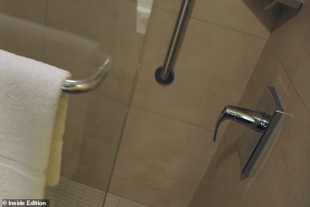 The invisible gel was applied to surfaces that are commonly touched, including shower knobs