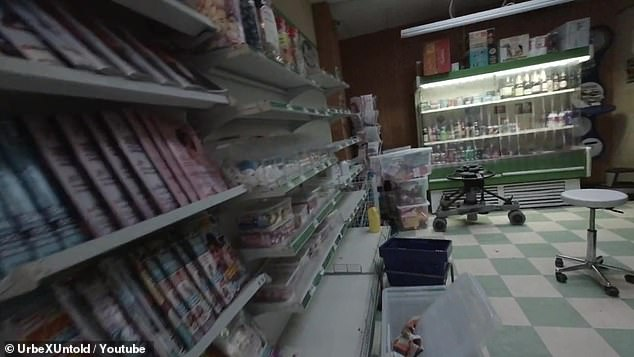 Inside theMinute Mart, which still has sweets inside. The cast have returned to the set in recent weeks, and production has restarted on new episodes