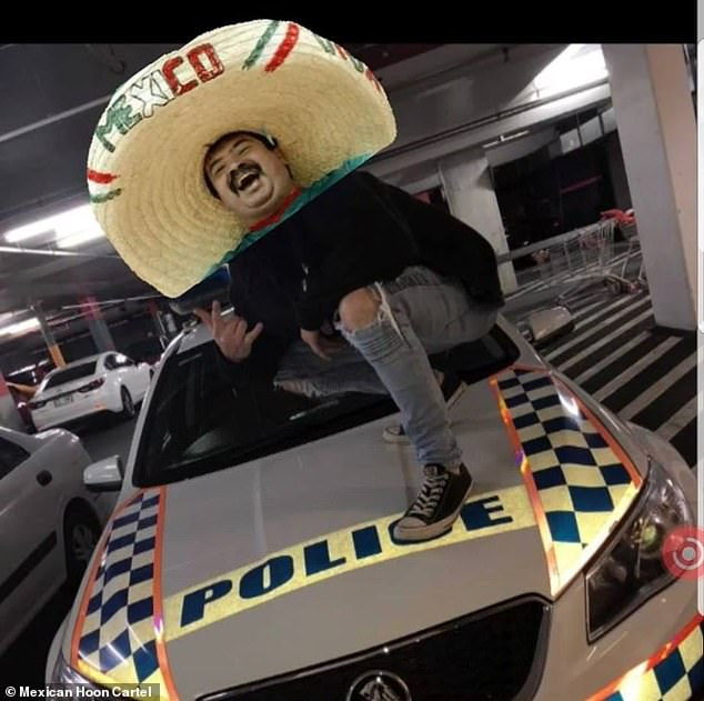 The Mexican Hoon Cartel on the Gold Coast in Queensland want the government to pay for and build them a concrete skid pan so they can do burnouts away from suburban streets (pictured: A 'cartel' member posing on top of a police car)
