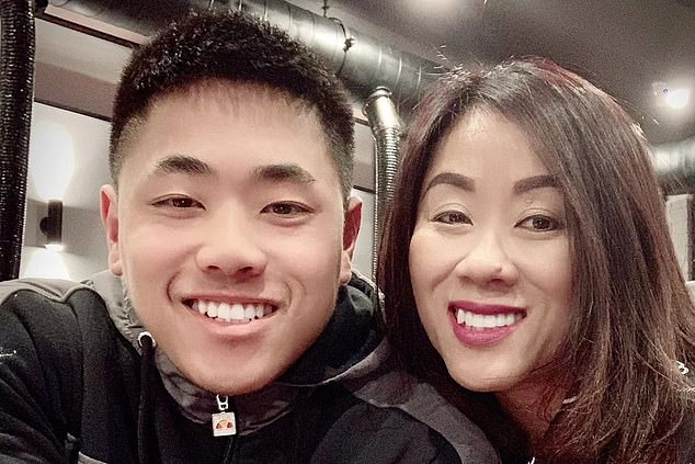 Mr Tran's mother Amy (pictured, right) said her son had gone to the gym before he was fatally stabbed