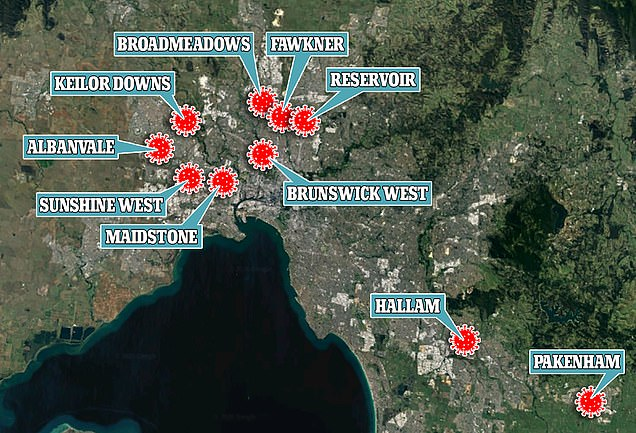 Victoria has been carrying out a testing blitz in ten suburbs across Melbourne (pictured, the ten 'hotspot' suburbs)