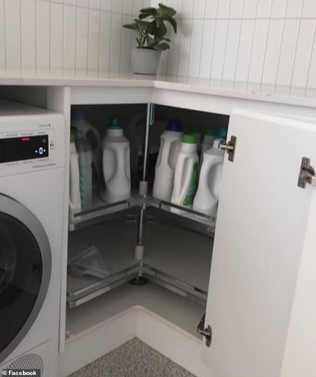 I'm spinning around: 'It's not all that unique but I love the Lazy Susan in the corner cupboard of our laundry, it makes things easier to access'