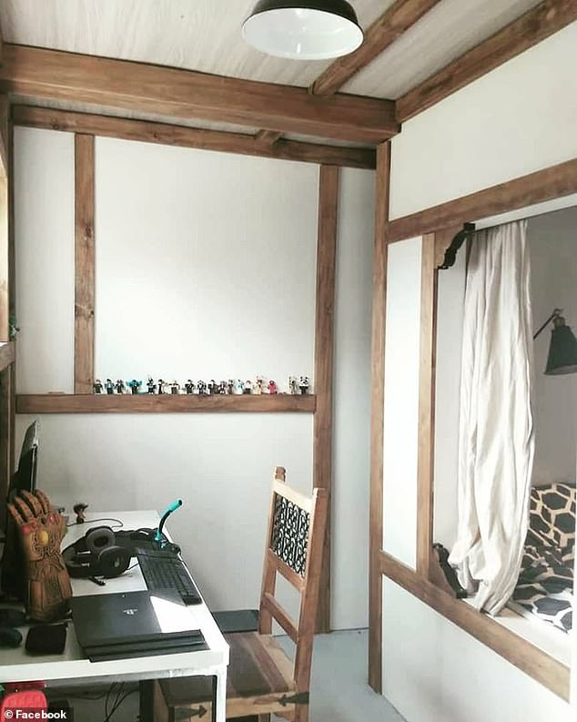 Keeping things cosy! 'I'm sure I'm not the only one but we made box beds for our boys small bedrooms so that we could fit a king single bed, two wardrobes either side, storage underneath and still have room for a good sized desk,' this woman wrote