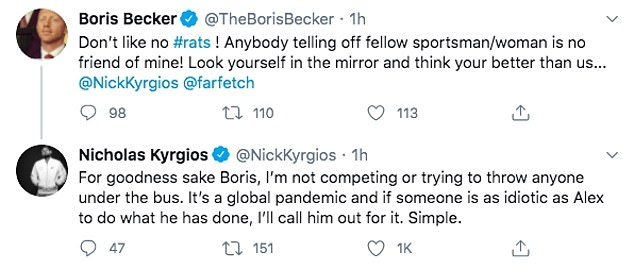 Boris Becker labelled Nick Kyrgios a 'rat' on Twitter for calling out his fellow professionals
