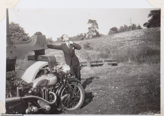 Squadron leader Millard was able to capture one man donning a suit and tie as he posed alongside a motorbike while away from the scenes of battle that saw a legion of officers protect the country against German planes sent to attack the UK