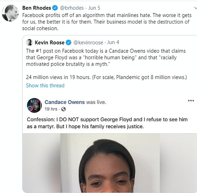 Robinson pointed to a post by pro-Trump activist Candace Owens calling George Floyd a `` horrible human being, '' which was the main Facebook comment at the time of the racial riots.