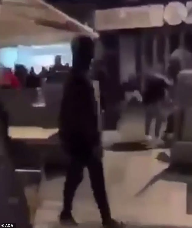 Pictured: An image from a video of a brawl between young people in Melbourne