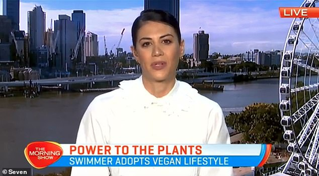 Casual vegan: Appearing on The Morning Show on Tuesday, the 32-year-old former Olympic swimmer spoke about her lifestyle choice