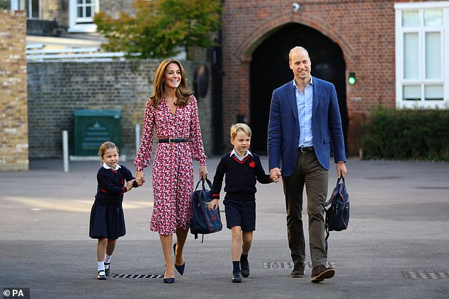 Princess Charlotte and Prince George currently attend Thomas's Battersea in London (pictured, arriving for Charlotte's first day in September)