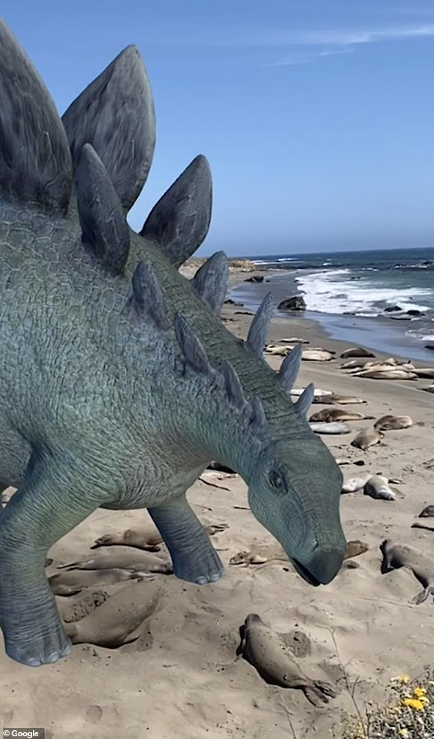 The AR dinosaurs — accessible via Google search — are based on the designs featured in 'Jurassic World Alive', a game by Montreal-based developer Ludia. Pictured, Stegosaurus