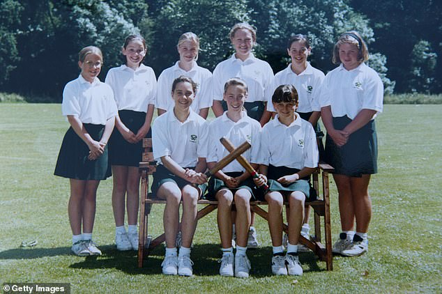 Both Kate and Prince William attended boarding schools during their youth (pictured, bottom left, the Duchess in an undated photograph by St Andrew's School)