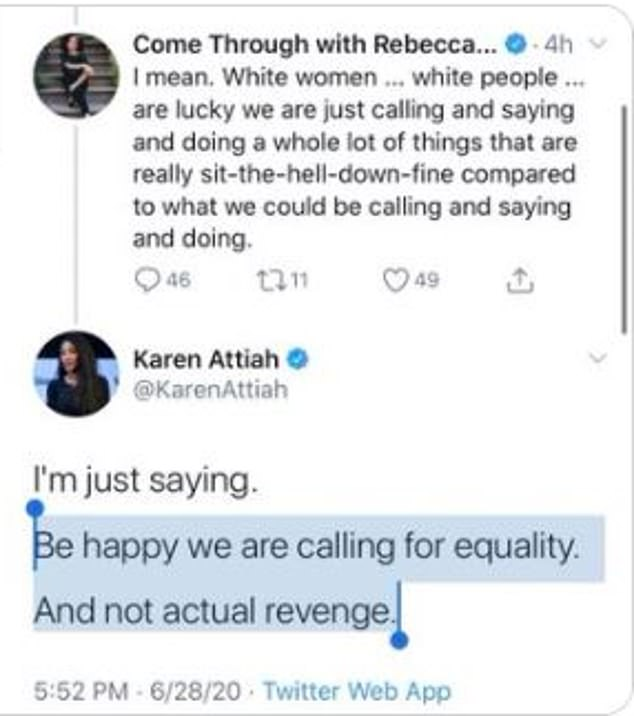 Washington Post opinions editor Karen Attiah tweeted on Sunday that white women were 'lucky' black people were calling them 'Karen's and not calling for revenge'