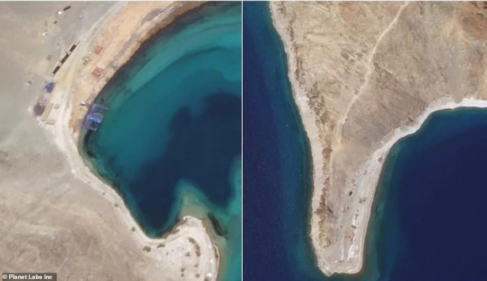 The satellite images also show what appears to be a Chinese-made pier with fast water craft parked on it at the base of the `` finger five '' (left) and new construction on the side claimed by the Chinese as `` finger four '', where clashes took place in May (right)