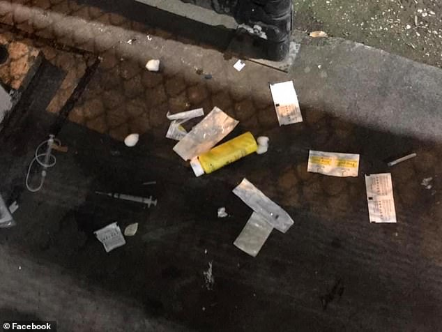 Drug paraphernalia was scattered on the ground in the streets near the injection room