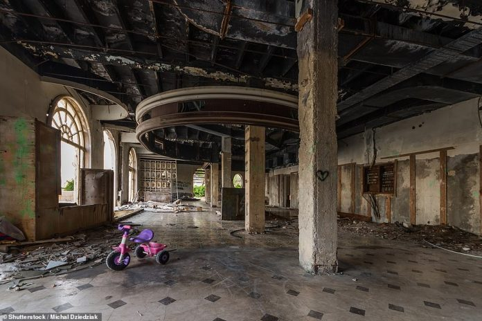 Inside the Grand Hotel, which makes for an extremely spooky place for a child to ride their bike
