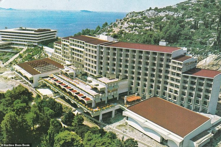 The Hotel Kupari, pictured in 1977, with the Hotel Pelegrin in the background close to the coastline