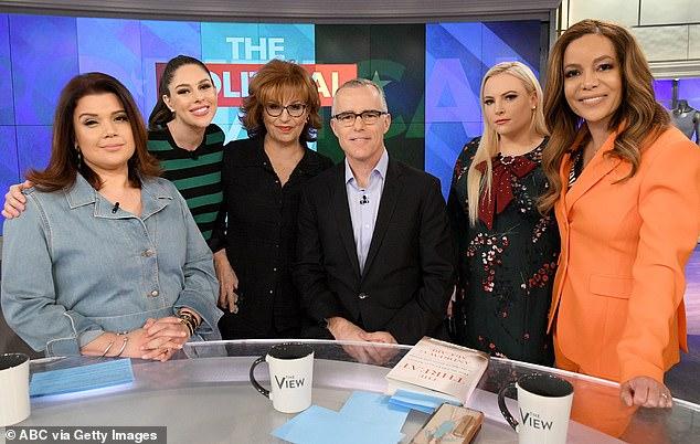 Squad: Ana Navarro, Abby Huntsman, Joy Behar, Andrew McCabe, Meghan McCain and Hostin seen from left to right in February 2019