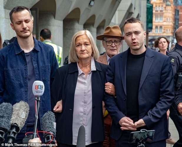 Sally Challen outside the Old Bailey with her sons James (left) and David. She walked free after the court accepted her guilty plea to manslaughter. Her 14 year prison sentence was reduced to nine years and four months