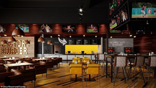 The resort says an'all-star menu' will be available at Victory Burger & Wings Co, pictured