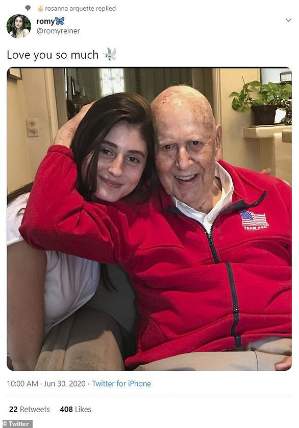 Family first: Rob's actress daughter Romy, 23, shared a snap of herself with her grandfather and the caption: 'Love you so much [dove emoji]'