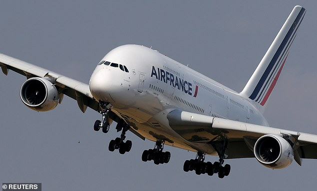 The company is cutting nearly 15,000 jobs across its global operations to stay afloat as the coronavirus crisis rocks the air travel industry (pictured, Air France Airbus A380 aircraft)