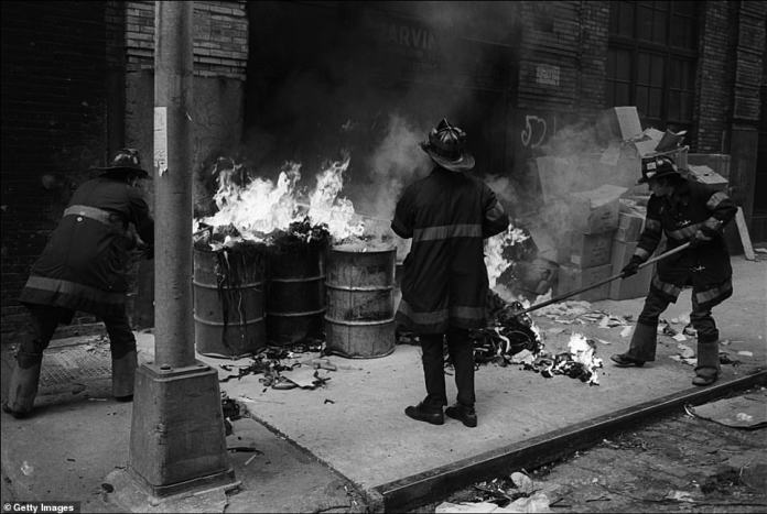 Above, the Fire Department of the City of New York, known as the FDNY, puts out a trash fire on Crosby Street in Soho on July 5, 1979. Now, Soho is one of the city's most expensive area that is populated with high-end retail such as Prada. Many of these stores were looted during recent protests against police brutality. In the 1970s and 80s, it was filled with lofts and galleries and known for its art