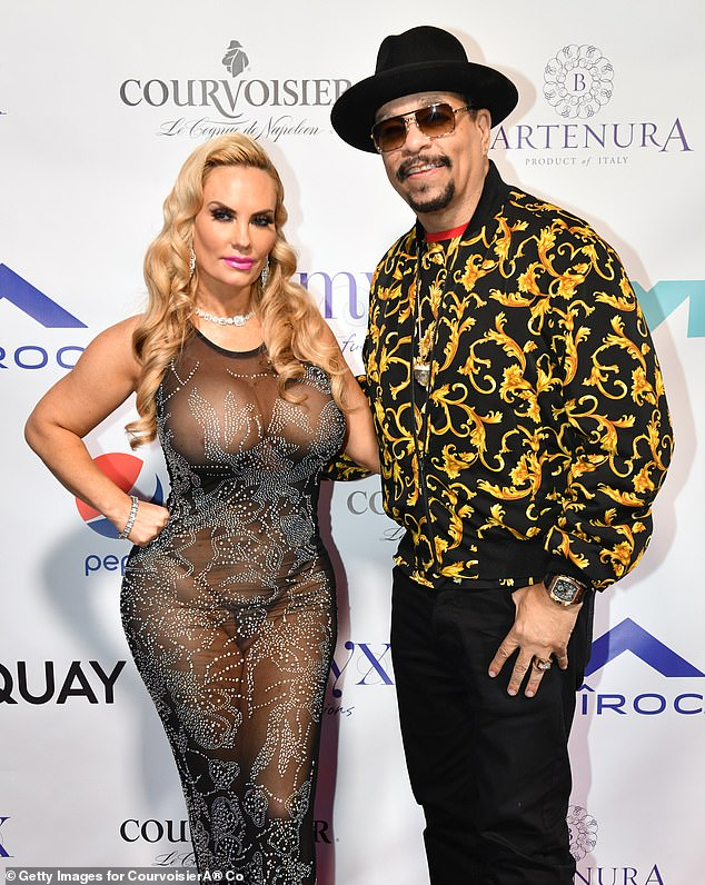 Worrying: Ice-T and wife Coco have been using their platforms to urge their followers to stay safe during the pandemic after the model's father was hospitalised with coronavirus