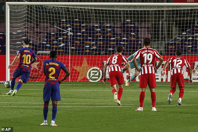 Messi converted a second-half penalty against Atletico Madrid in LaLiga clash on Tuesday
