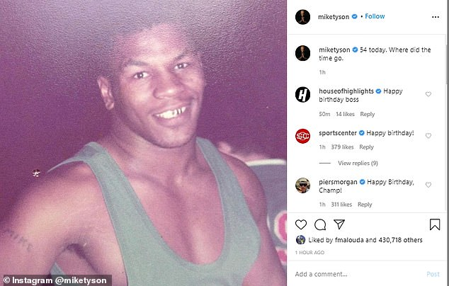 Mike Tyson marked his 54th birthday with a throwback picture of himself on Instagram