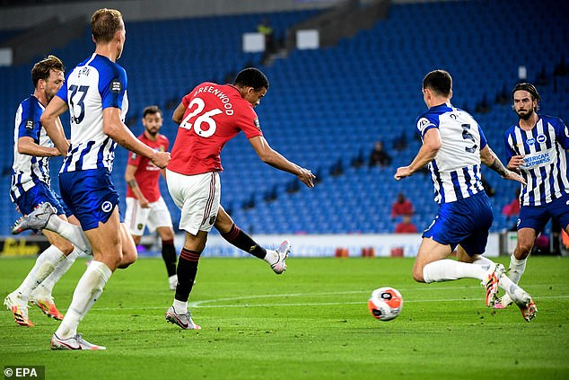 Greenwood scored the first of three Manchester United goals in his side's 3-0 win at the Amex