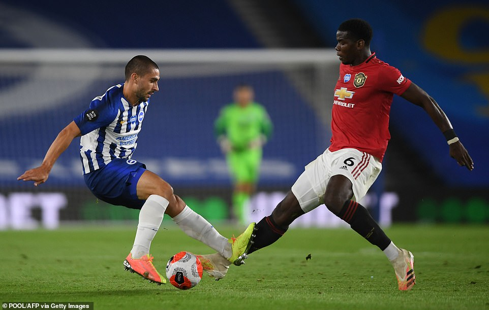 Starting alongside Fernandes in midfield, Paul Pogba strutted around the Amex Stadium throughout the game