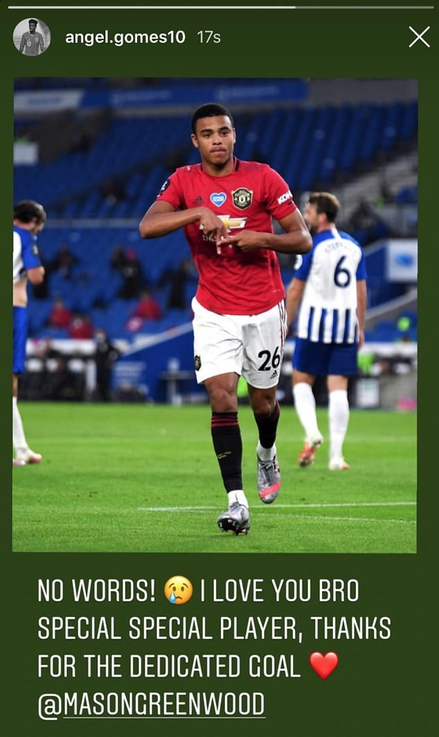 Gomes posted a 'thank you' message to Greenwood on his Instagram story on Tuesday night